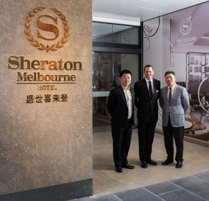 Opening of Sheraton Melbourne Hotel, Australia - General Manager, Hal Philip, with owners, Golden Age Development Group
