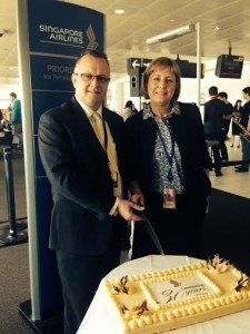 Singapore Airlines Queensland State Manager Greg McJarrow and Brisbane Air ... and MD Julieanne Alroe at SQ 30th anniversary celebrations March 2014