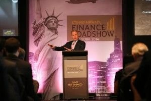 James Hogan, Etihad Airways' President and Chief Executive Officer, addresses guests at the airline's financial roadshow in New York.
