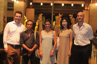 Living Art Exhibition: (from left to right) Kevin Girard, Director of Business Development, Conrad Bali; I Wayan Jana, Artist and Sculptor; Alejandra Collado, Studio Base; Tomoko Konno, Ceramic Artist; Eduardo Sepulveda, Studio Base.