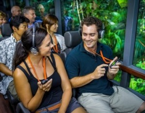 Down Under Tours' passengers enjoying the new technology