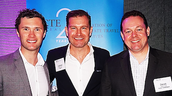 ACTE Supporting Partners Tom Milne (Concur) & Derek Excell (Concur) with Andrew Kelly (ACTE).
