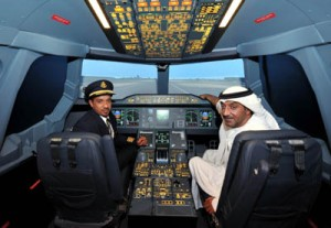 His Highness Sheikh Amhed takes the pilot seat with Capt Moataz Alswaini_tcm133-1632734