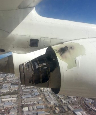 Photo by passenger shows damage to BA146's engine