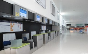 ABANDONED check-in counters ready for action the moment Ciudad Central goes    back into business. (Spain Free Press)