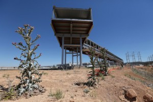 GOING nowhere: this covered walkway was supposed to lead to a high-speed rail    station at the airport. (Spain Free Press)