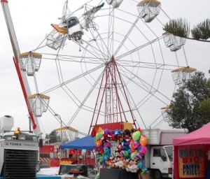 The aircraft caught in the Ferris Wheel- NSW Police photo