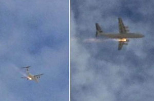 The plane with engine on fire in the sky, photo circulating on Twitter