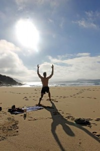 Yoga on beach at Port Stephens1