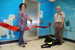 Guide Dog Queensland clients Peta Dunnett and Dr John Vance with Guide Dog Vogue 15 April 2014