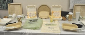 Display of compostable cups, cutlery napkins and other items provided by HMS Host