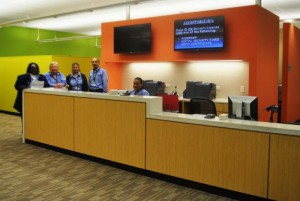 CDA staff ready to welcome patrons at the new ID Badging Office reception desk.