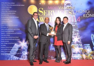 Winnie Chiu, president and executive director of Dorsett Hospitality International receiving the Best Valued Hotels Group Award 2014