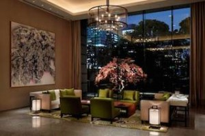 'Early Morning' by Mika Toba echoes the Japanese maple moatside beyond the hotel lobby