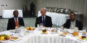 Mr Desmond Golding, Minister Alain St.Ange and Mr Sadha Naidoo at the working breakfast on 9th May 2014