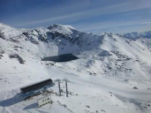 Aerial view of the Curvey Basin top terminal at The Remarkables looking across to Lake Alta_media
