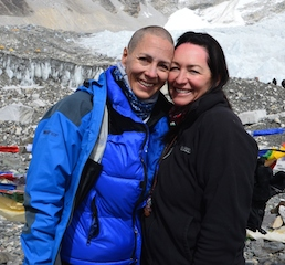 TravelManagers' proud personal travel managers Andrea Turner (left) and Michelle Thomas at the Everest Base Camp having just had their head shaved and hair cut in support of the Leukaemia Foundation's World's Highest Shave fundraising event.
