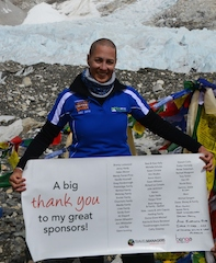TravelManagers' personal travel manager Andrea Turner at the Everest Base Camp giving thanks to all of her family, friends and clients who donated so generously for the Leukaemia Foundation's World's Highest Shave fundraising event.