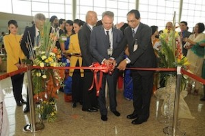 Inaugural Ceremony of Jet Airways flight 9W 124 Mumbai to Paris. Opening of Check-in counters with a ribbon cutting ceremony