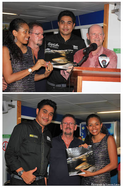 (Taken at the Official launch of the book) Sherin Naiken CEO of the Tourism Board, Glynn Burridge, Imran Ahmad and Alain St.Ange