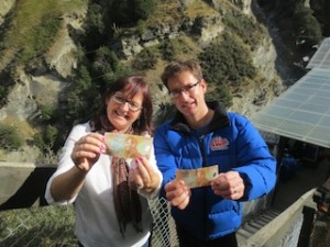 Orphans Aid International CEO Sue van Schreven and Shotover Canyon Swing GM Matt Hollyer_media