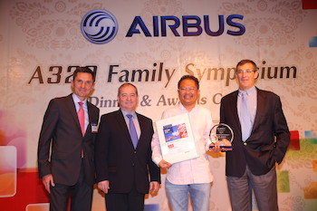 Photo from left to right: Gilles de Cevins (Vice President, A320 Family Programme Customer Services), Daniel Baubil  (Executive Vice President, Head of A320 Family Programme), Anaz Ahmad Tajuddin (AirAsia Group Head of Engineering) & Didier Lux (Head of Customer Services Airbus)