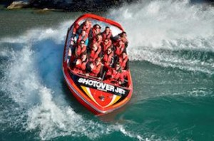 The Duke and Duchess were delighted with their thrilling Shotover Jet ride (second row from the front in the middle)_media