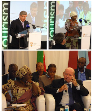 Minister Marthinus Van Schalkwyk of South Africa, Mrs Dlamini Zuma of the African Union and Minister Alain St.Ange of the Seychelles addressing the Ministerial Session
