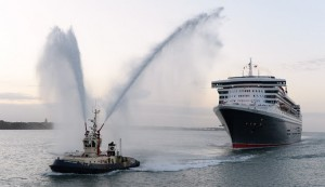 Happy Birthday Queen Mary 2! Cunard's Three Queens celebrate the flagship's 10th anniversary in dramatic style, Southampton, ENGLAND. UK.