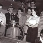 Coongoola  Engineer  and Radio Operator Doug Owen(left with owner GH (Bert) Griffiths, Skipper Keith Radcliffe, Peggy Griffiths, Tim Lees, Elizabeth Griffiths, Barry Griffiths and Frank McCarthy
