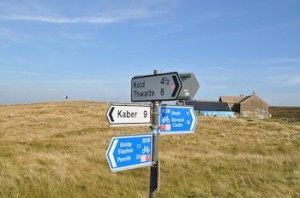 LONG way from anywhere – these signs, in miles, show how isolated the Inn is.(DriveTheDales.com)