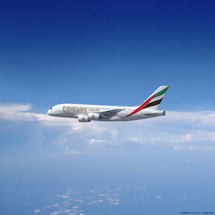 An Emirates A380 inflight