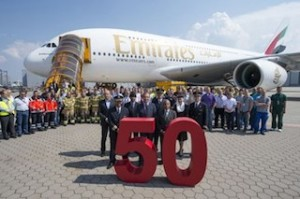 Emirates and Airbus employees gather in front of the 50th A380 to celebrate this milestone delivery. The Emirates A380 remains one of the most talked about aircraft in the world today, generating excitement wherever it flies.