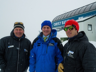A view from the top of Curvey – (L to R) Ross Lawrence, Bill English and Paul Anderson