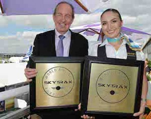 Air Astana President Peter Foster with Zhanar Shayakhmetova, In-Flight Supervisor at Farnborough Air Show