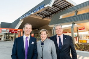 Brisbane Airport GM Commercial Businesses John Tormey, Brisbane Airport CEO and MD Julieanne Alroe, Cr David McLachlan