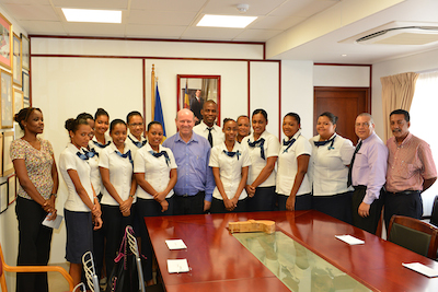 Seychelles Minister for Tourism and Culture meeting with students of Advanced Diploma in Hospitality Management prior to their intern ship program in Mauritius