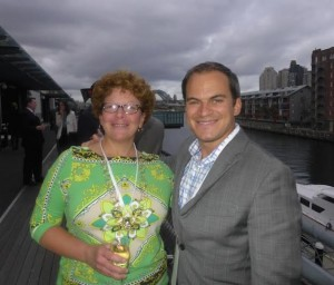Elizabeth Davis of Niagara USA and Christopher Heywood of NYC & Company, with Sydney Harbour Bridge in background