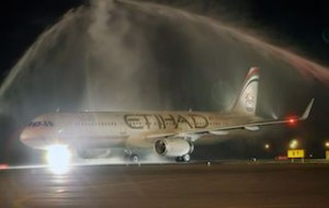 Etihad Airways' inaugural flight EY298 is welcomed with a water cannon salute upon arrival at Zvartnots International Airport in Yerevan, Armenia.