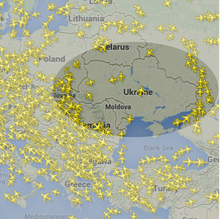 Flight tracking radar image shows planes skirting Ukrainian airspace in aftermath of MH17 shootdown