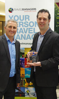 "Michael Gazal (left) congratulates Ric Pattaro on being recognized as ""Best Travel Consultant – Corporate"" at the 2014 National Travel Industry Awards."