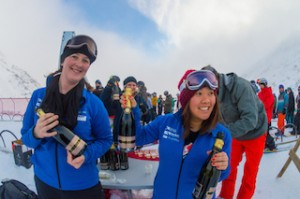 Kate Batkin (L) and Tracey Ha from NZSki handing out celebratory Amisfield bubbles at the opening of The Remarkables_media