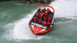 Kira Grant (front centre) enjoys a spin on the Shotover Jet using a GoPro to capture the experience