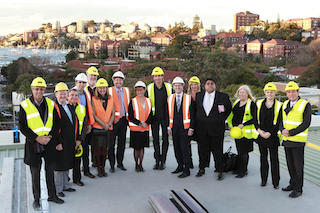 Mayor Toni Zeltzer with her Councillors, Royal Hotels and InterContinental Sydney Double Bay on rooftop