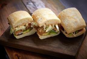 Po Boy with fried squid, avocado, house fermented chilli sauce