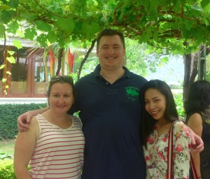 Samantha Bartels from MTA Travel, Sydney, Mitchell Andrews from The Travel Corporation and Passawan  Promsawat from TAT in a Thai winery