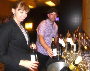 Scenic's French wine expert Tom Munro with assistant at Sofitel Sydney Wentworth