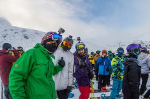 Skiers and boarders waiting to ride the new Curvey Basin chairlift at The Remarkables_media
