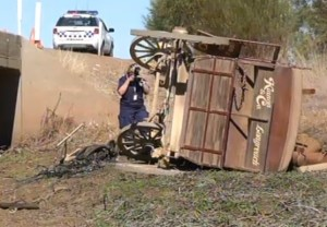 Stagecoach crashes off bridge at Longreach
