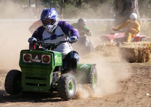 "THEY'RE racing – giving whole new meaning to ""getting out the mower"